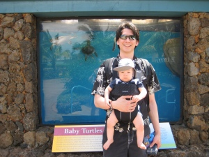 using a baby carrier is great at the maui ocean center-easier for the babies to see what's going on