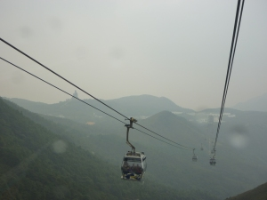 Ngong Ping gondola with kids glass bottom