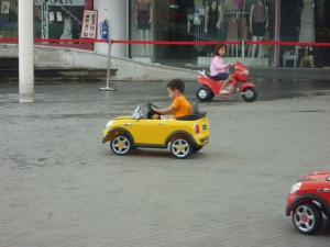 kids can drive cars at vivocity in singapore on the roof