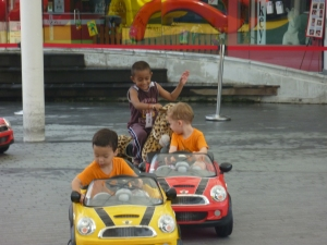 kids can drive cars on the roof at vivocity in Singapore
