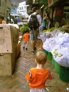 Flower market in Hong Kong with kids
