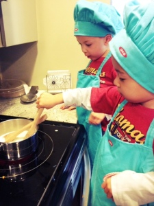 Making pie with kids for pie day wearing oxo gear