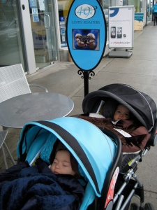 Baby twins in Vancouver in a double snap and go