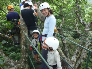 Zip-lining with kids in Costa Rica