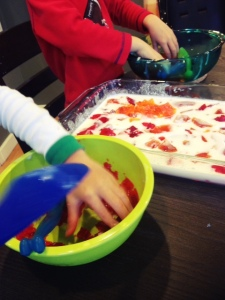 stained glass jello with kids is fun