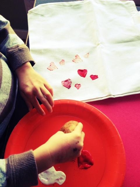 Potato painting valentines day