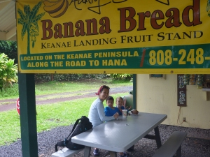 banana bread on road to maui with kids