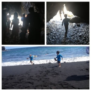 black sand beach on road to hana with kids
