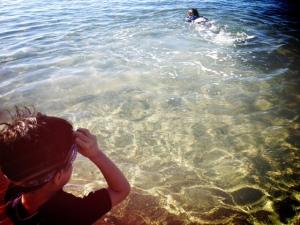 swimming at baby beach wtih kids