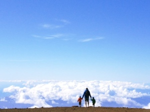looking over the edge of the world with kids in maui haleakala