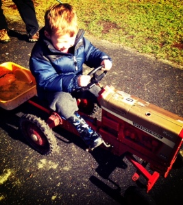 Riding tractors at Maplewood Farm